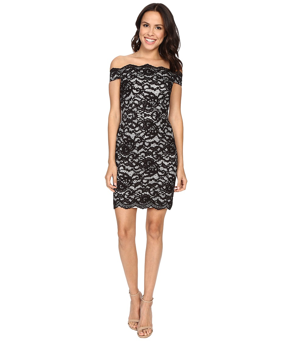 Aidan Mattox Stretch Lace Off the Shoulder Cocktail Dress (Black/Ivory) Women