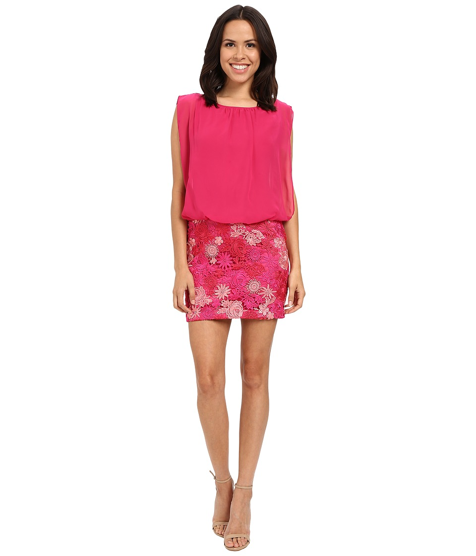 Aidan Mattox Solid Chiffon Top with Lace Blusson Skirt Pink-Multi Dress