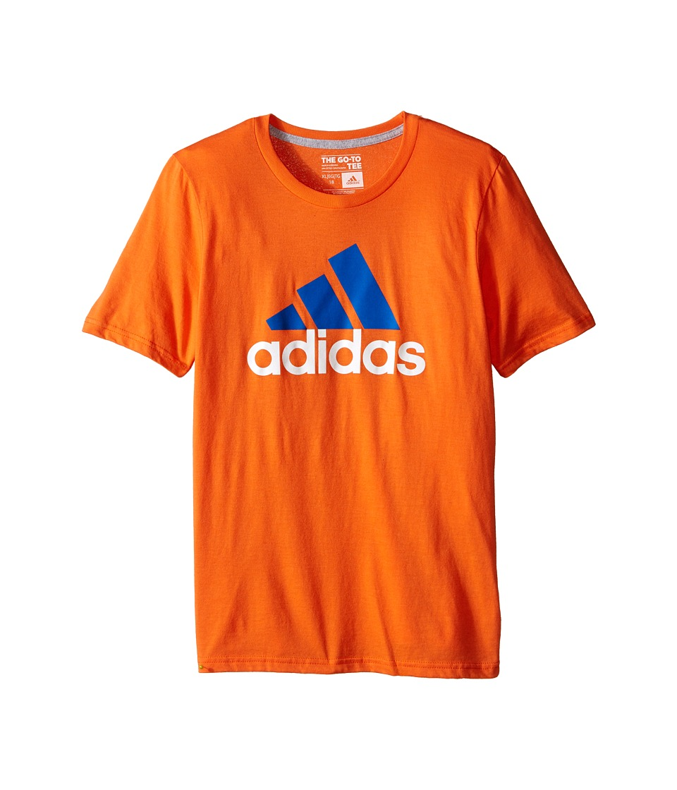 adidas Kids - 30's S/S Tee Adi Logo (Big Kids) (Super Orange/EQT Blue) Boy's Short Sleeve Pullover
