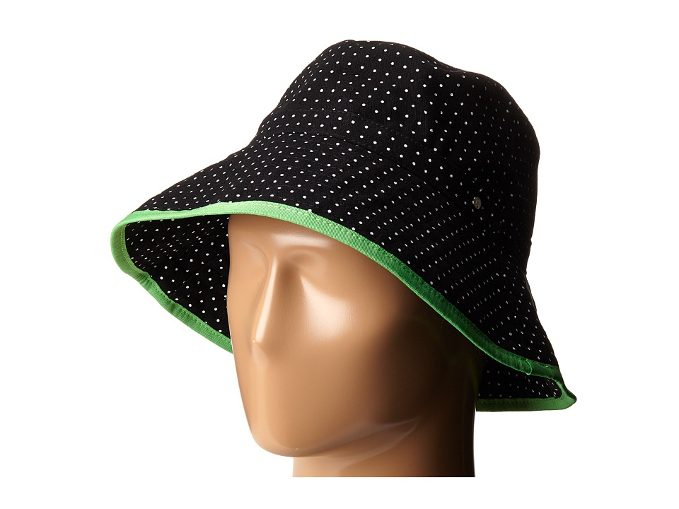 LAUREN Ralph Lauren - Cotton Polka Dot Canvas Bucket Hat (Black/White) Bucket Caps
