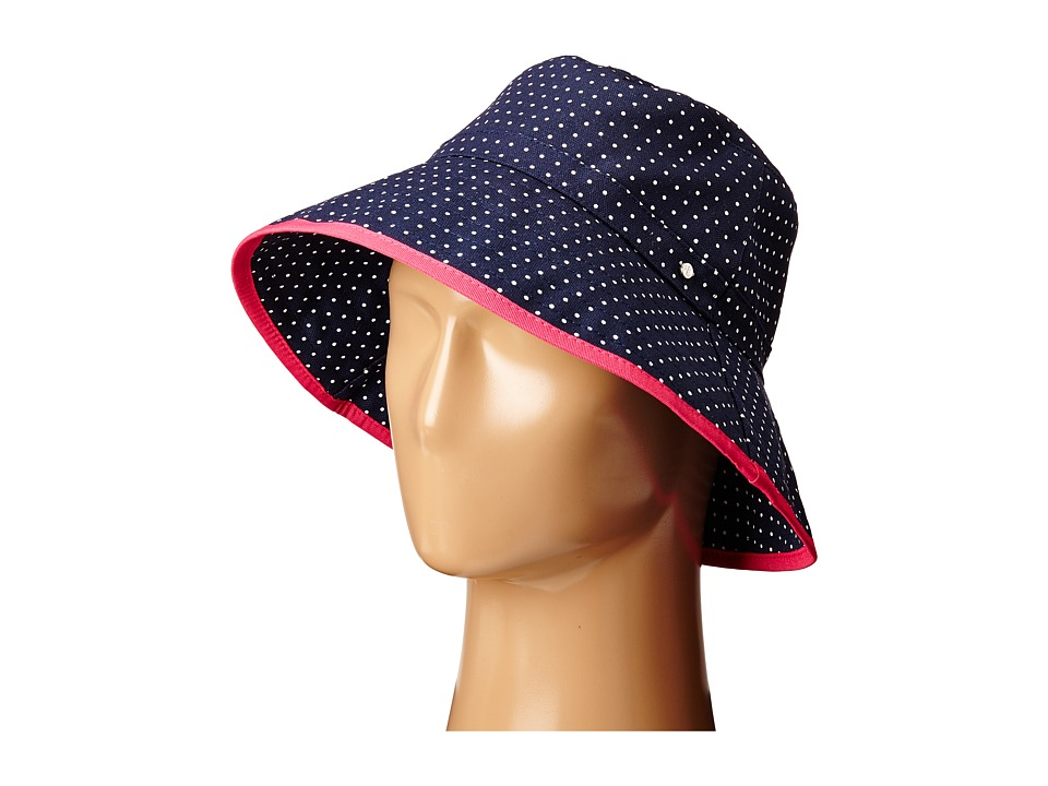 LAUREN Ralph Lauren - Cotton Polka Dot Canvas Bucket Hat (Navy/White) Bucket Caps