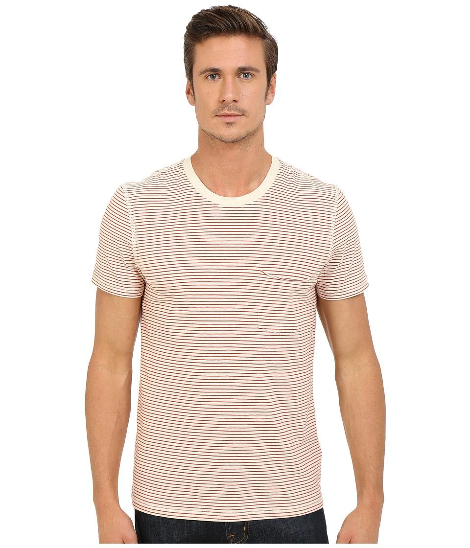7 For All Mankind - Short Sleeve Stripe Ringer Tee (Ecru Nova Stripe) Men's T Shirt