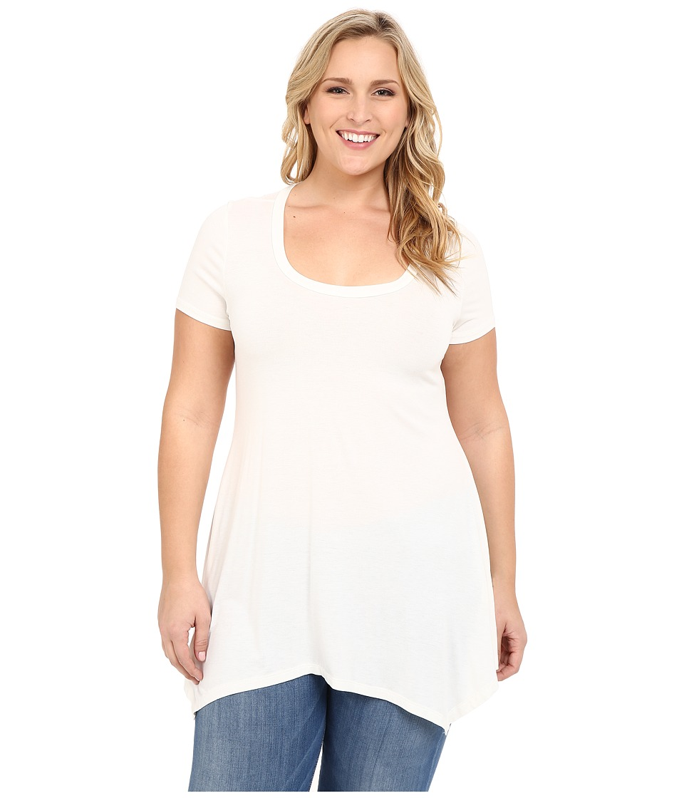 Christin Michaels - Plus Size Joselyn Short Sleeve Top (Ivory) Women's Clothing