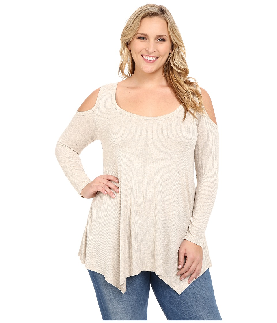 Christin Michaels - Plus Size Rylan Ribbed Cold Shoulder Top (Cream) Women's Clothing
