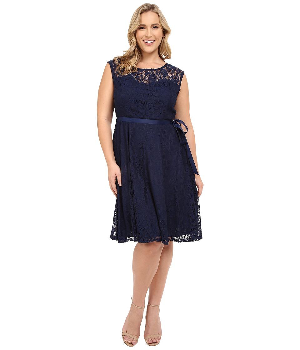 Christin Michaels - Plus Size Faith Lace Sleeveless Dress (Navy) Women's Dress