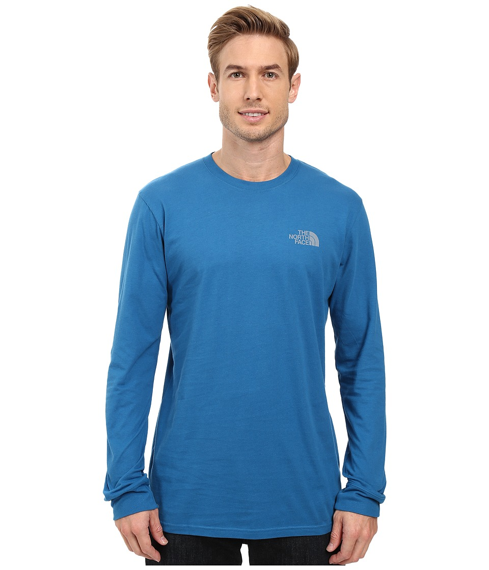 The North Face - Long Sleeve Red Box Tee (Banff Blue/Mid Grey) Men's Long Sleeve Pullover