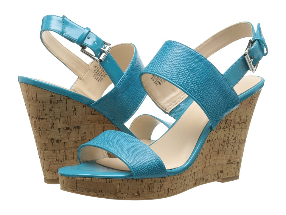 Nine West - Lucini (Turquoise/Turquoise Synthetic) Women's Wedge Shoes