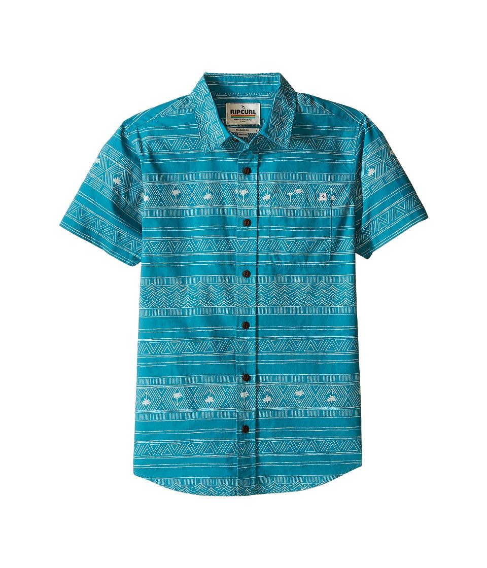 Rip Curl Kids - Cabana Short Sleeve Shirt (Big Kids) (Aqua) Boy's Clothing
