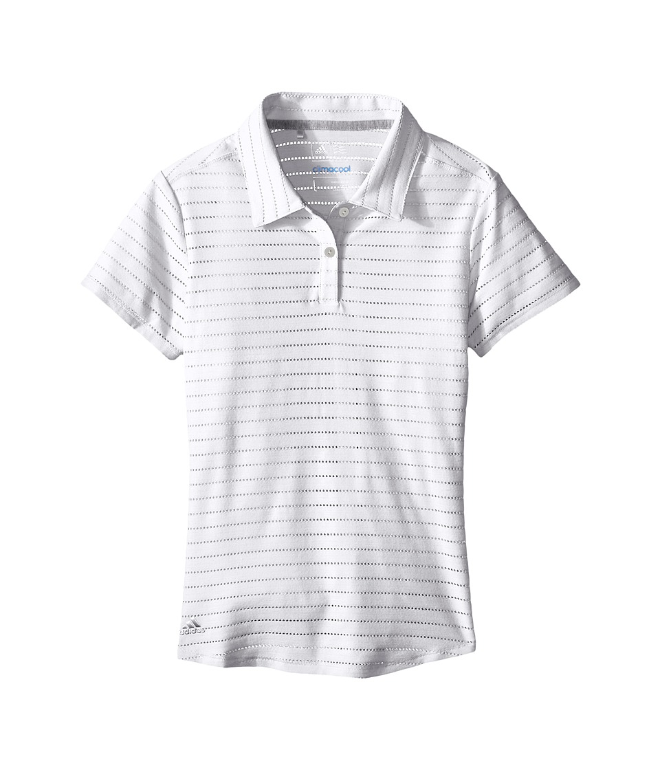 adidas Golf Kids - Essential Cotton Hand Stripe Polo (Big Kids) (White/White/White) Girl's Clothing