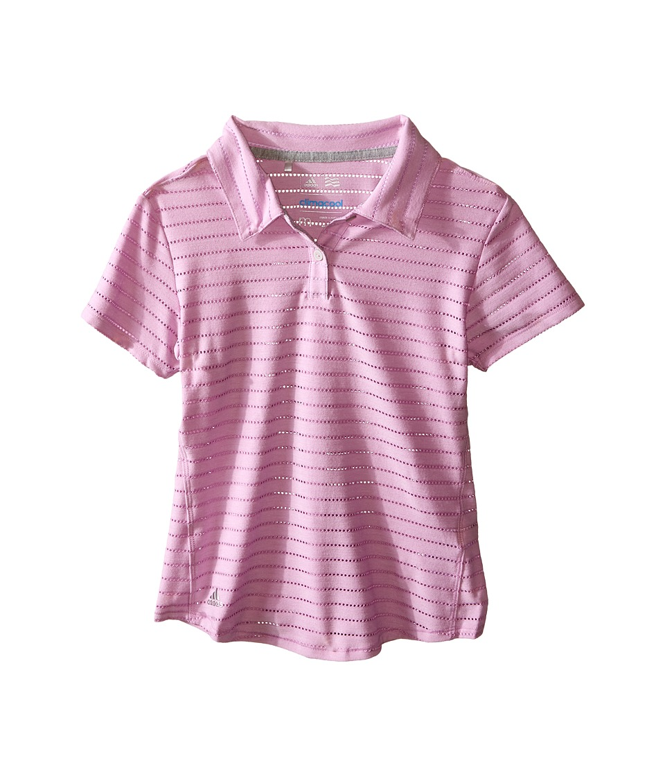 adidas Golf Kids - Essential Cotton Hand Stripe Polo (Big Kids) (Pink/Wild Orchid) Girl's Clothing