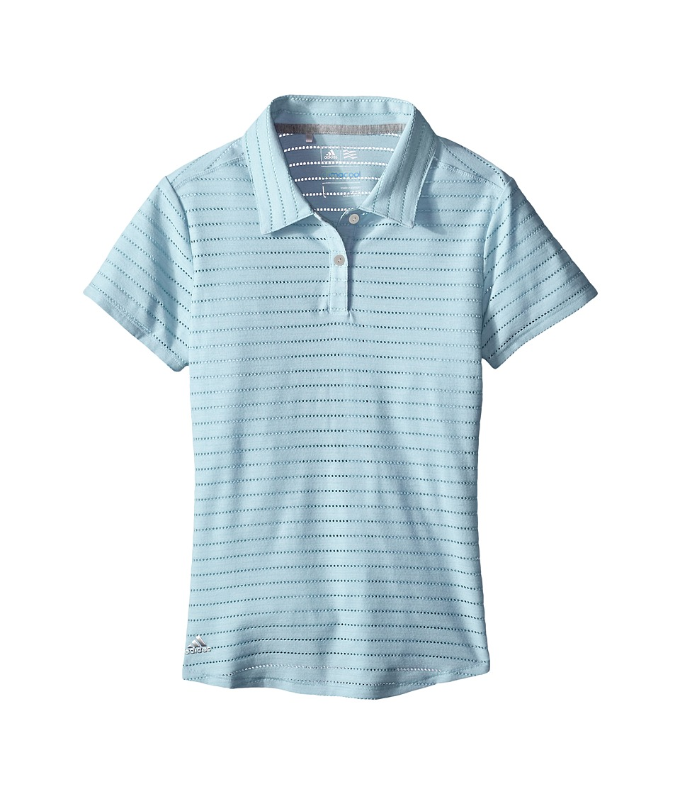 adidas Golf Kids - Essential Cotton Hand Stripe Polo (Big Kids) (Blue/Soft Blue) Girl's Clothing