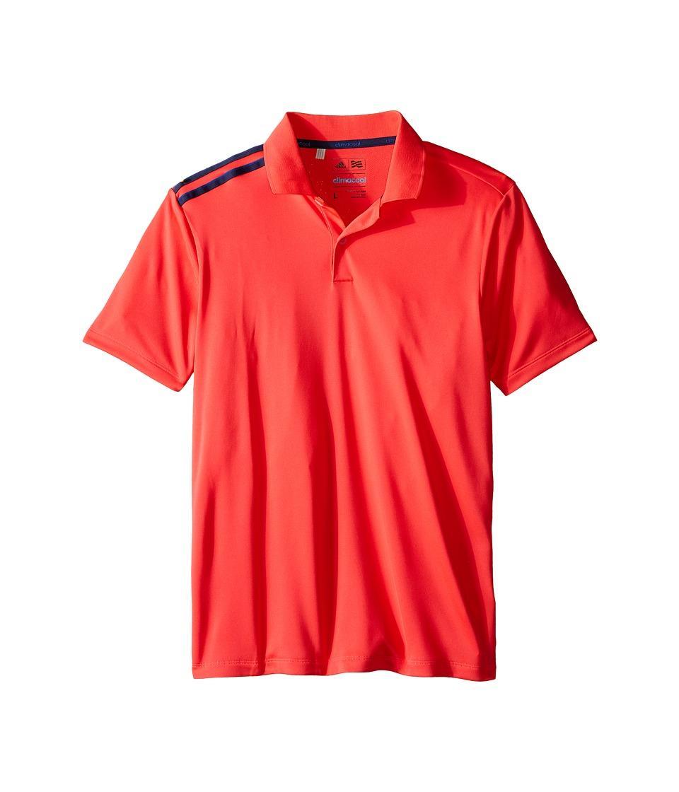 adidas Golf Kids - Climacool 3-Stripes Polo (Big Kids) (Orange/Shock Red/Miner Blue) Boy's Clothing