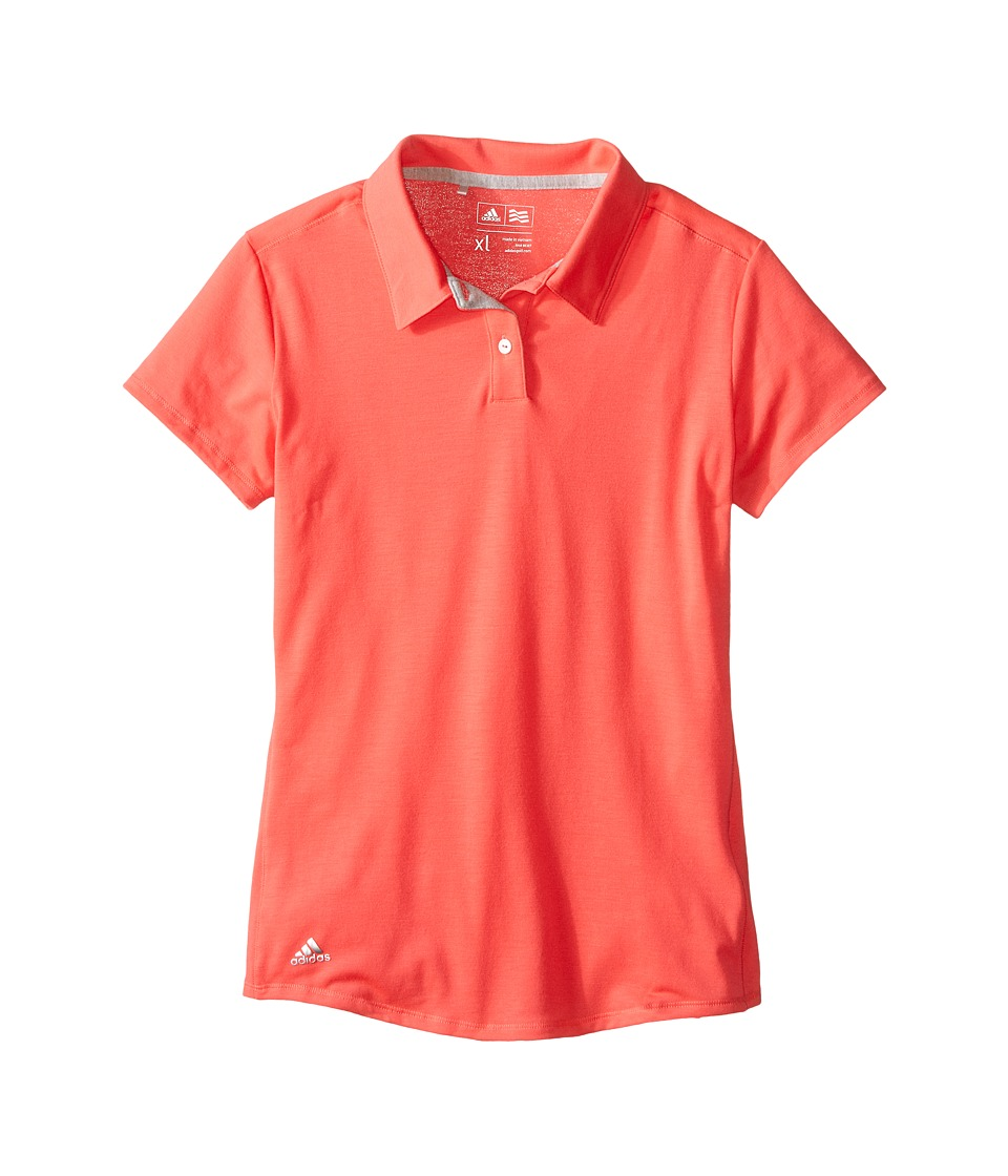 adidas Golf Kids - Climalite Essentials Short Sleeve Heathered Polo (Big Kids) (Orange/Shock Red) Girl's Short Sleeve Pullover