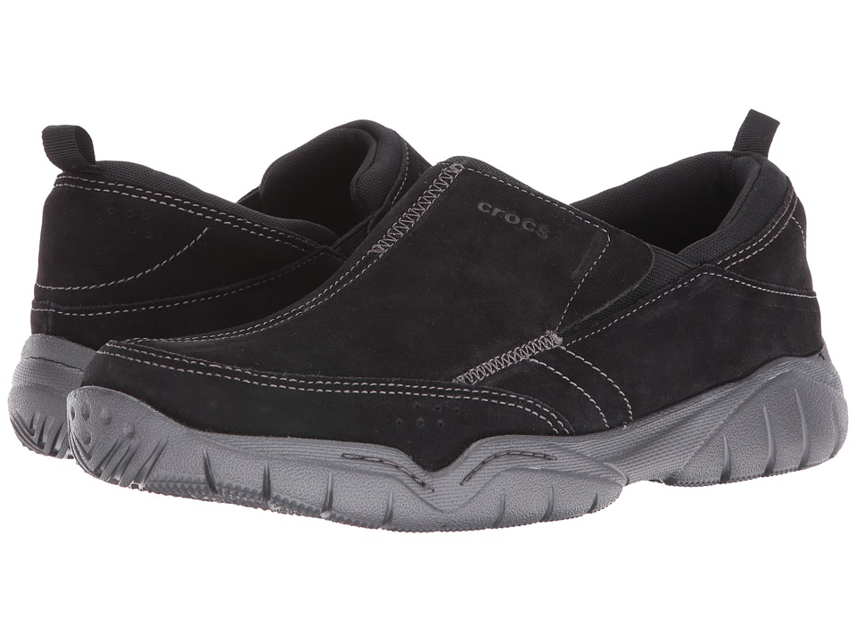 Crocs Swiftwater Leather Moc (Black/Graphite) Men