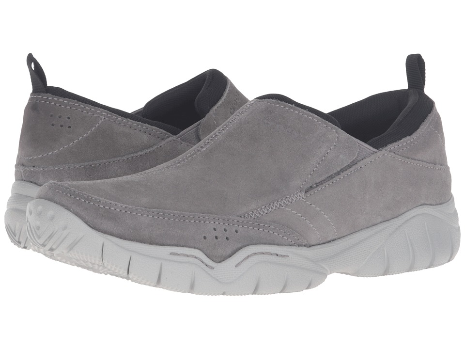 Crocs - Swiftwater Leather Moc (Charcoal/Smoke) Men's Slip on Shoes