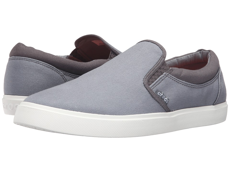 Crocs - CitiLane Slip-On Sneaker (Smoke/White) Men's Slip on Shoes