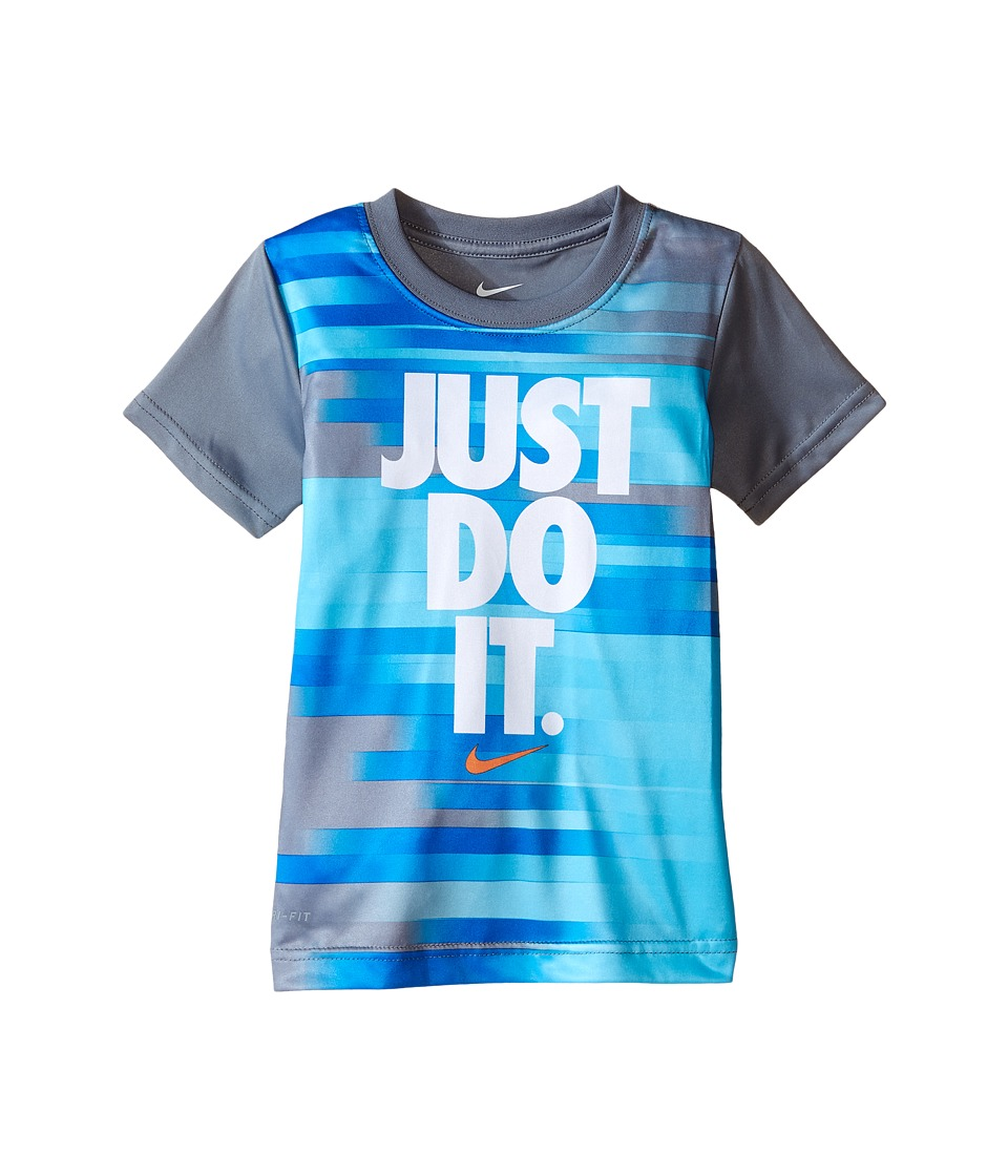 Nike Kids - Just Do It Splice Dri-FIT Short Sleeve Tee (Toddler) (Cool Grey) Boy's T Shirt