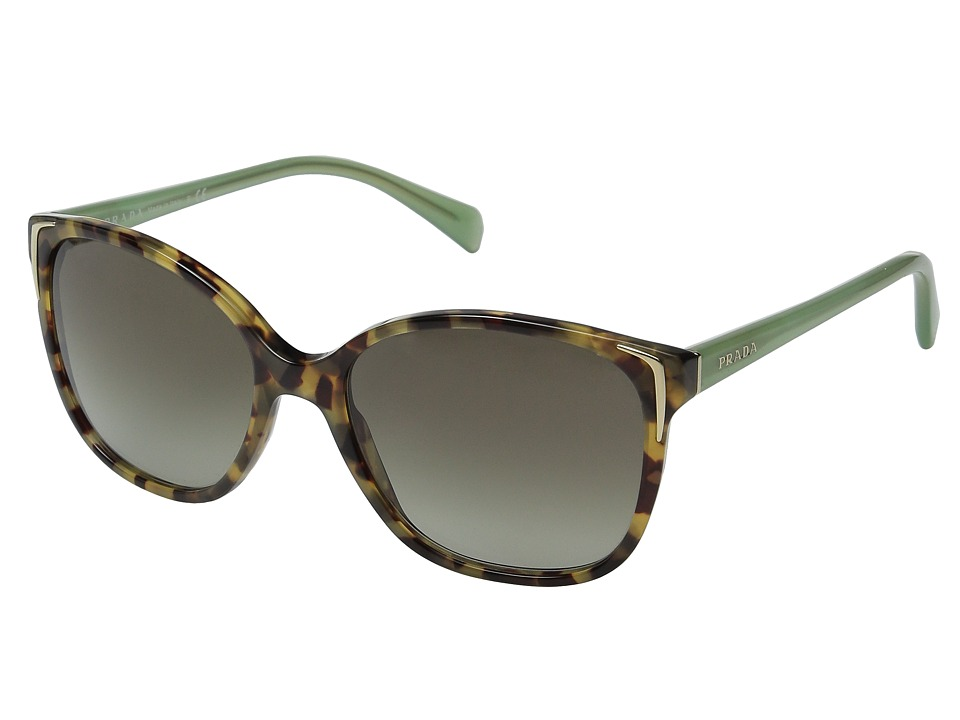 Prada - 0PR 01OS (Spotted Brown Green/Green Gradient) Fashion Sunglasses