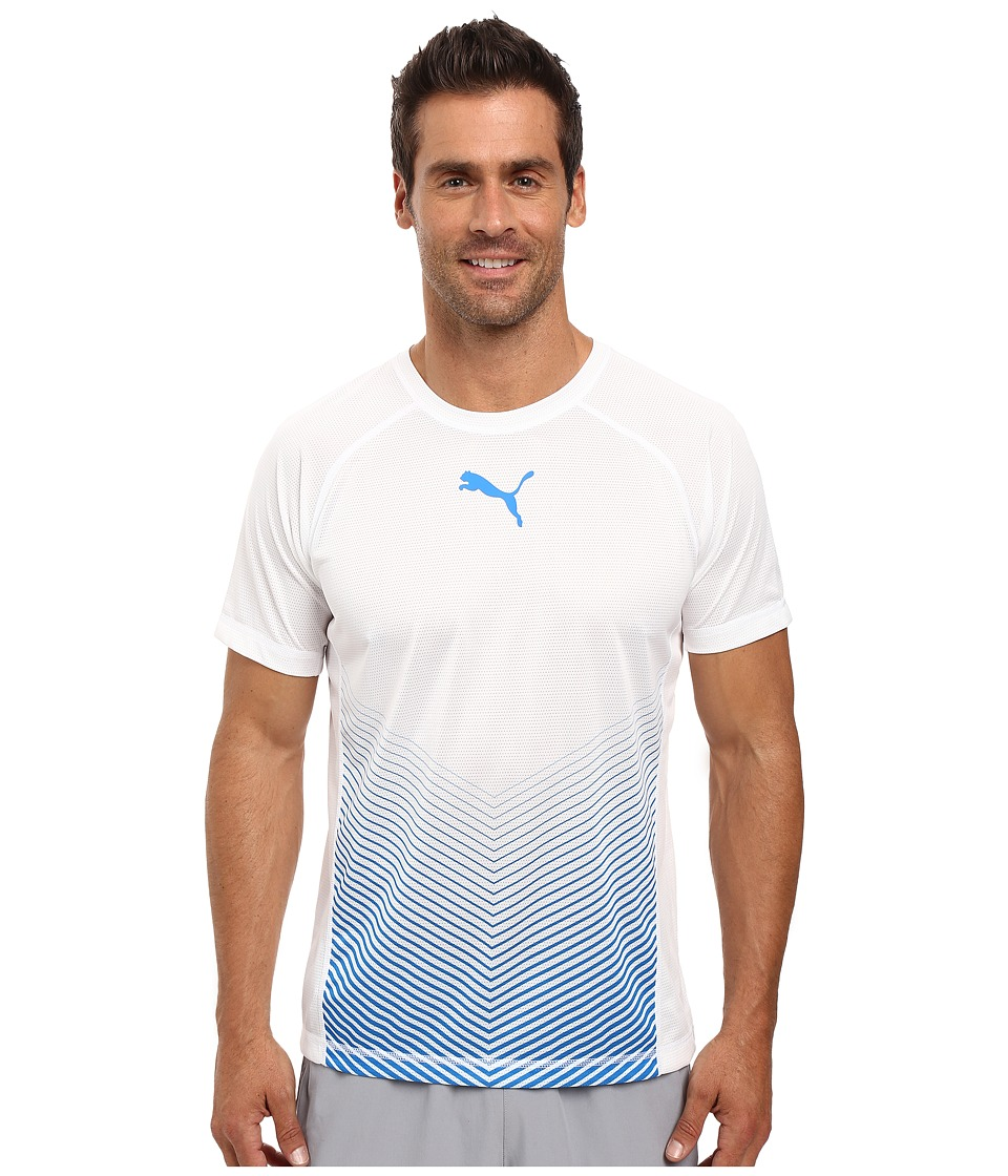 PUMA - Vent Short Sleeve Tee (Puma White/Electric Blue Lemonade) Men's T Shirt