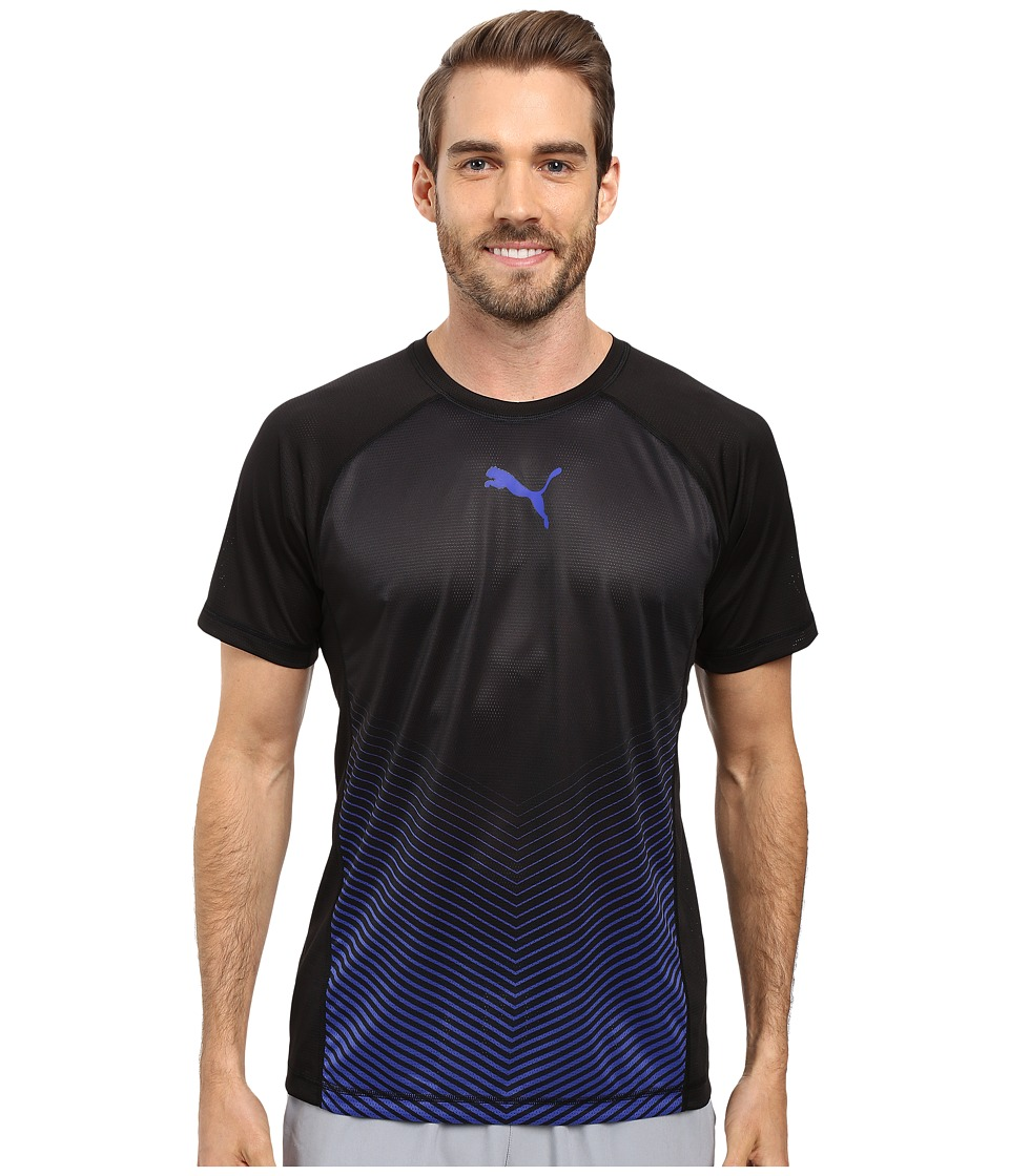 PUMA - Vent Short Sleeve Tee (Puma Black/Royal Blue) Men's T Shirt