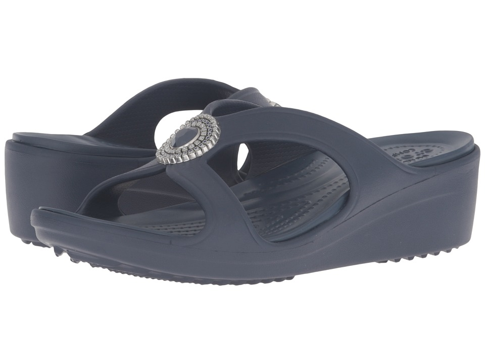 Crocs - Sanrah Beaded Wedge Sandal (Navy) Women's Wedge Shoes