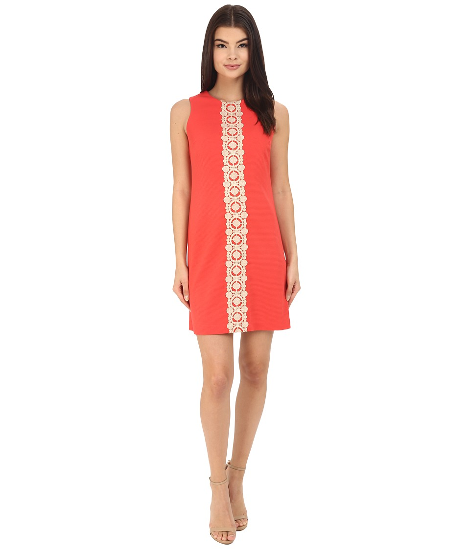 Jessica Simpson Ottoman Shift Dress with Lace Detail (Coral) Women