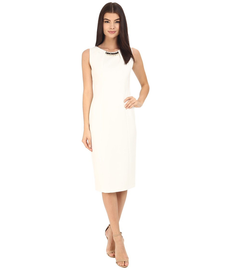 Jessica Simpson - Scuba Midi Dress with Embellished Neck Trim (Ivory) Women's Dress