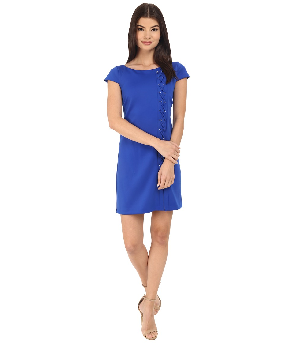 Jessica Simpson Short Sleeve Scuba Dress with Lace-Up Detail (Cobalt) Women