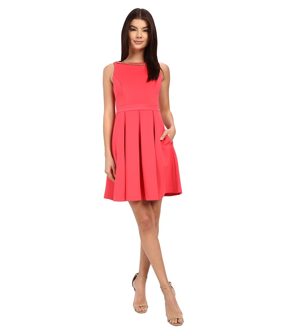Jessica Simpson Solid Bow Back Dress with Neck Trim (Watermelon) Women