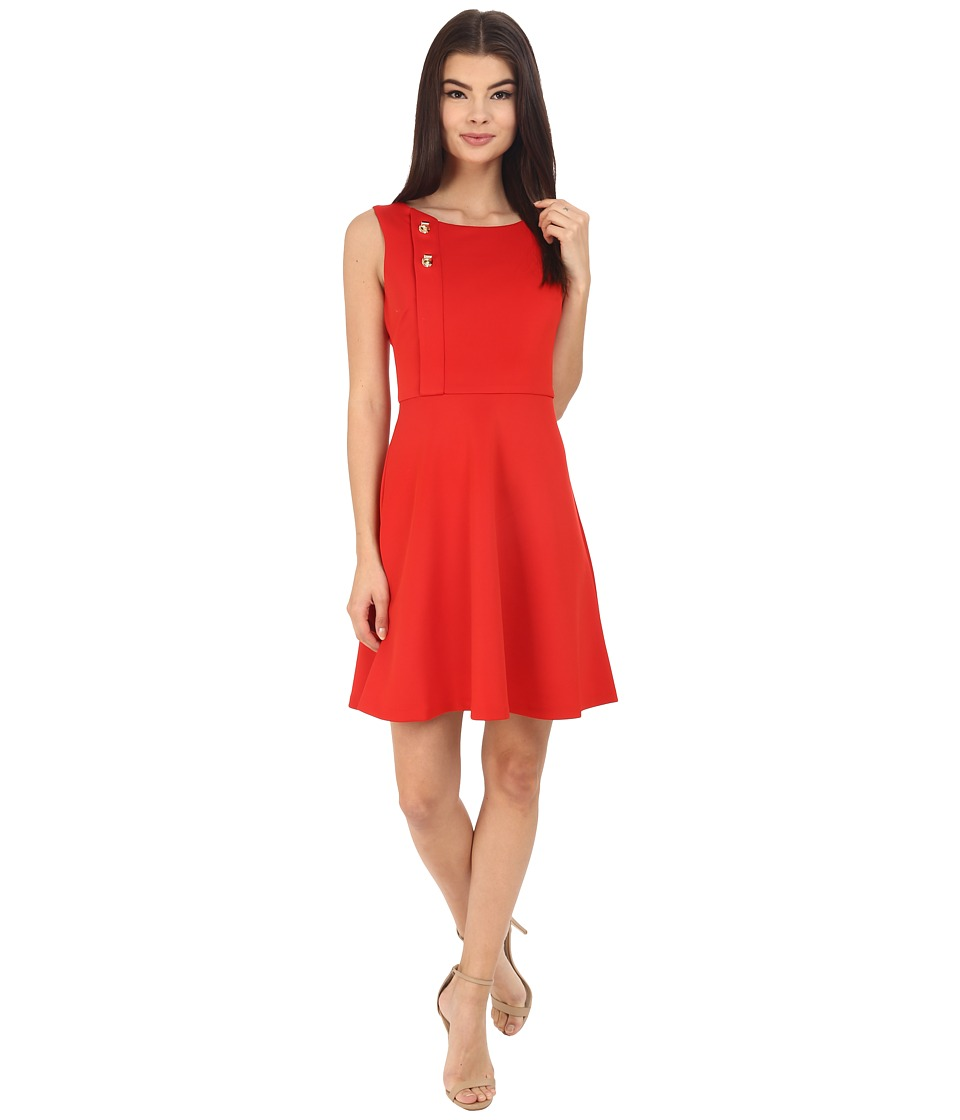 Jessica Simpson - Scuba Fit and Flare with Turn Key Detail (Sunet) Women's Dress