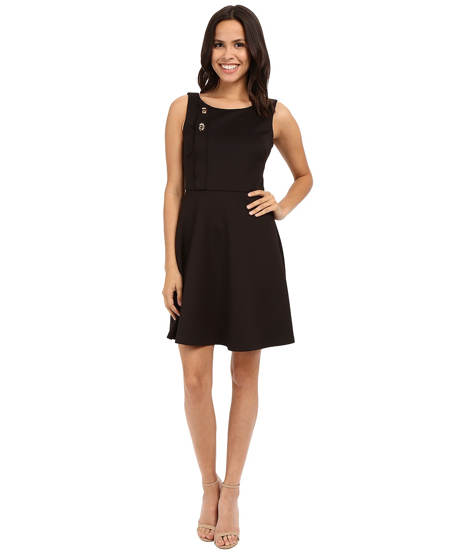 Jessica Simpson - Scuba Fit and Flare with Turn Key Detail (Black) Women's Dress
