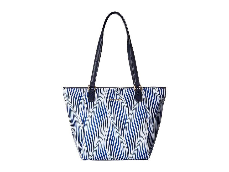 Vera Bradley - Small Ella Tote (Wavy Stripe/Navy) Tote Handbags