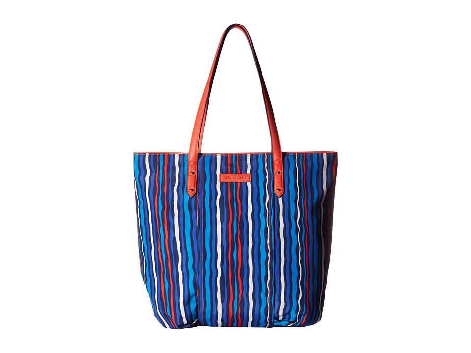 Vera Bradley - Preppy Poly Tote (Cobalt Stripe) Tote Handbags