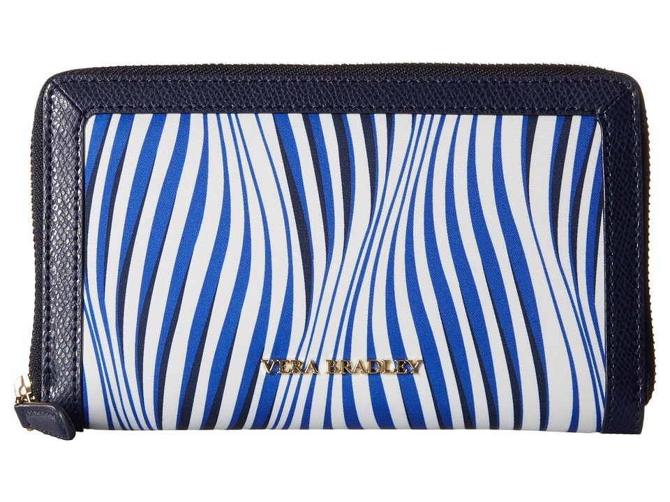 Vera Bradley - Accordion Wallet (Wavy Stripe/Navy) Wallet Handbags
