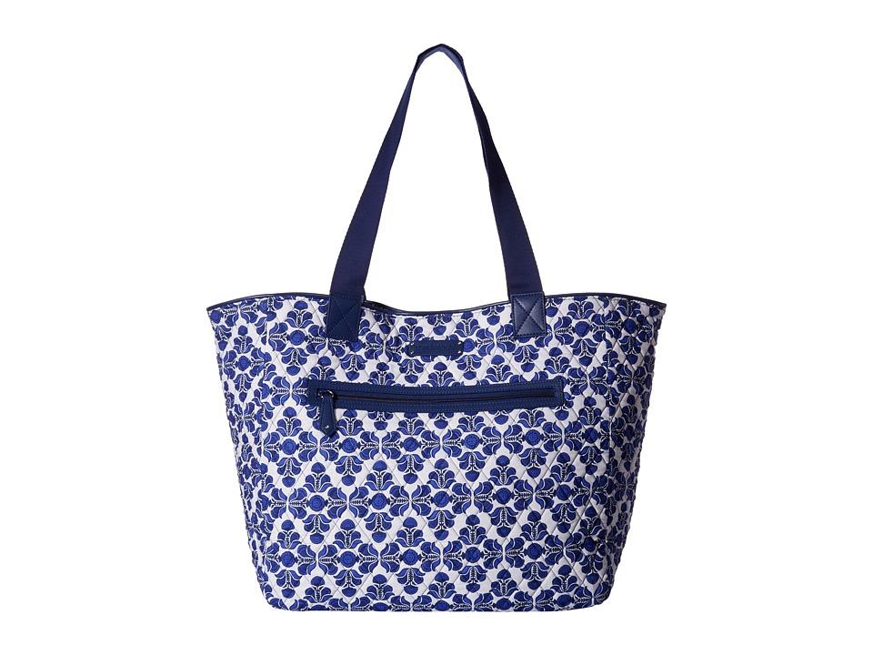 Vera Bradley - Trimmed Reversible Tote (Cobalt Tile/Navy) Tote Handbags