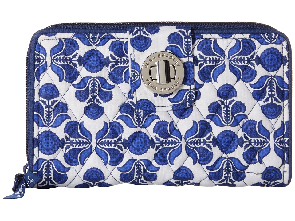 Vera Bradley - Turnlock Wallet (Cobalt Tile) Bill-fold Wallet