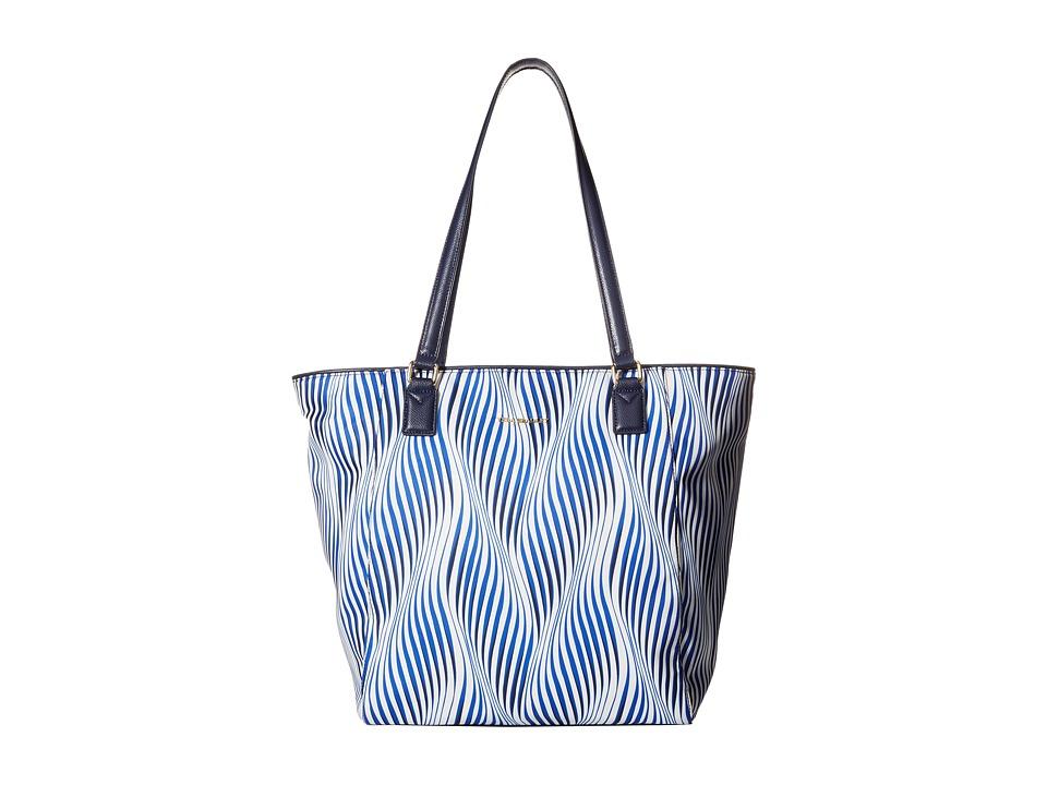 Vera Bradley - Ella Tote (Wavy Stripe/Navy) Tote Handbags