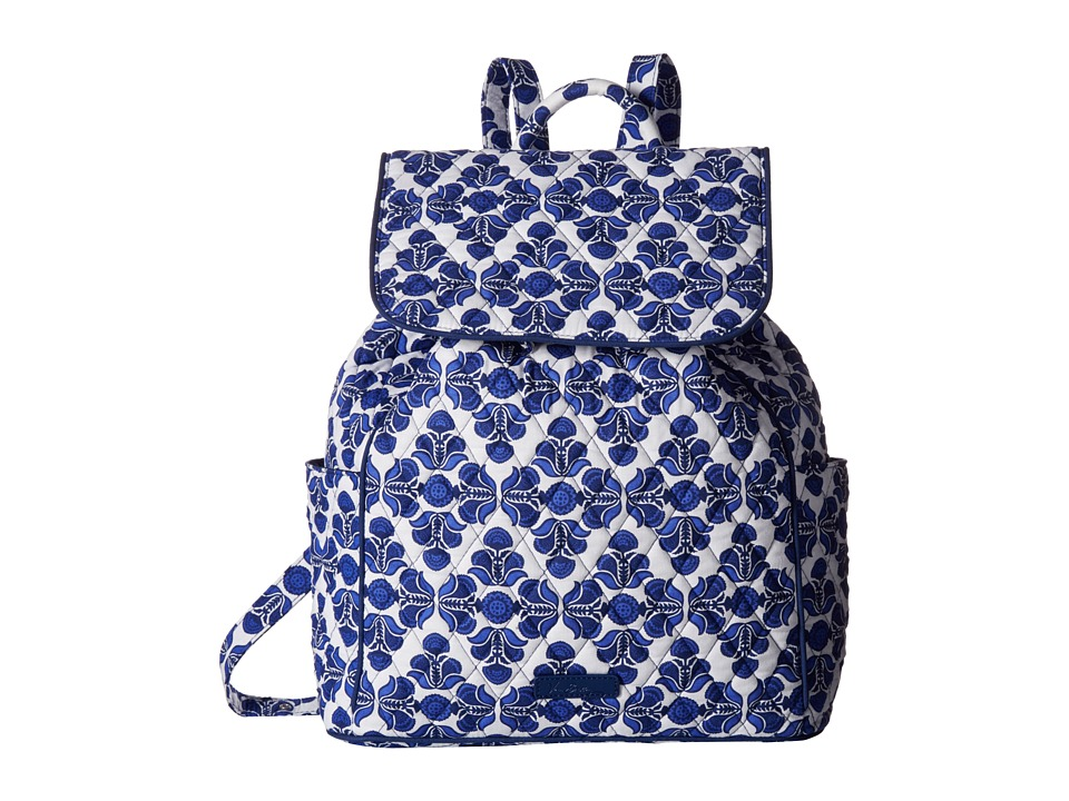 Vera Bradley - Drawstring Backpack (Cobalt Tile) Backpack Bags