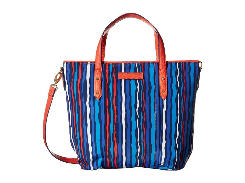 Vera Bradley - Preppy Poly Satchel (Cobalt Stripe) Satchel Handbags