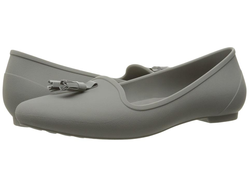 Crocs - Eve Embellished Flat (Grey) Women's Flat Shoes