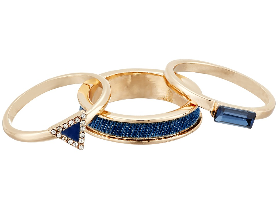 GUESS - Trio Band Ring (Gold/Crystal/Blue) Ring