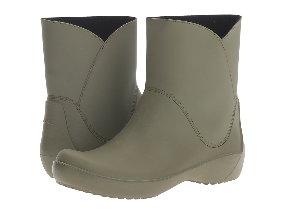 Crocs - RainFloe Bootie (Army Green) Women's Boots