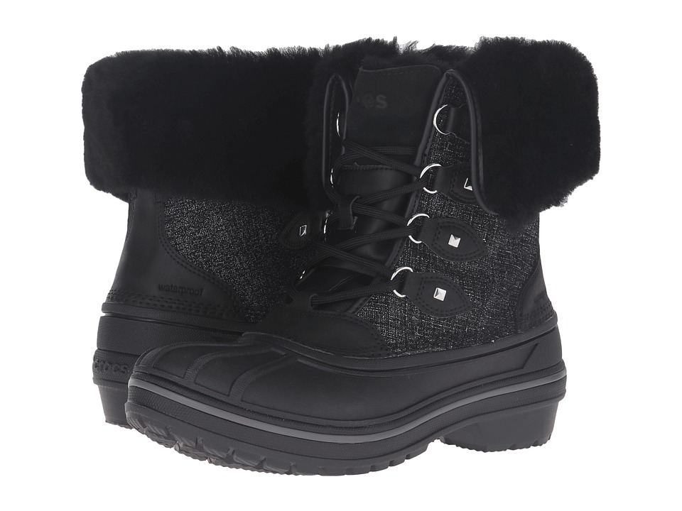 Crocs AllCast II Luxe Boot (Black Shimmer) Women