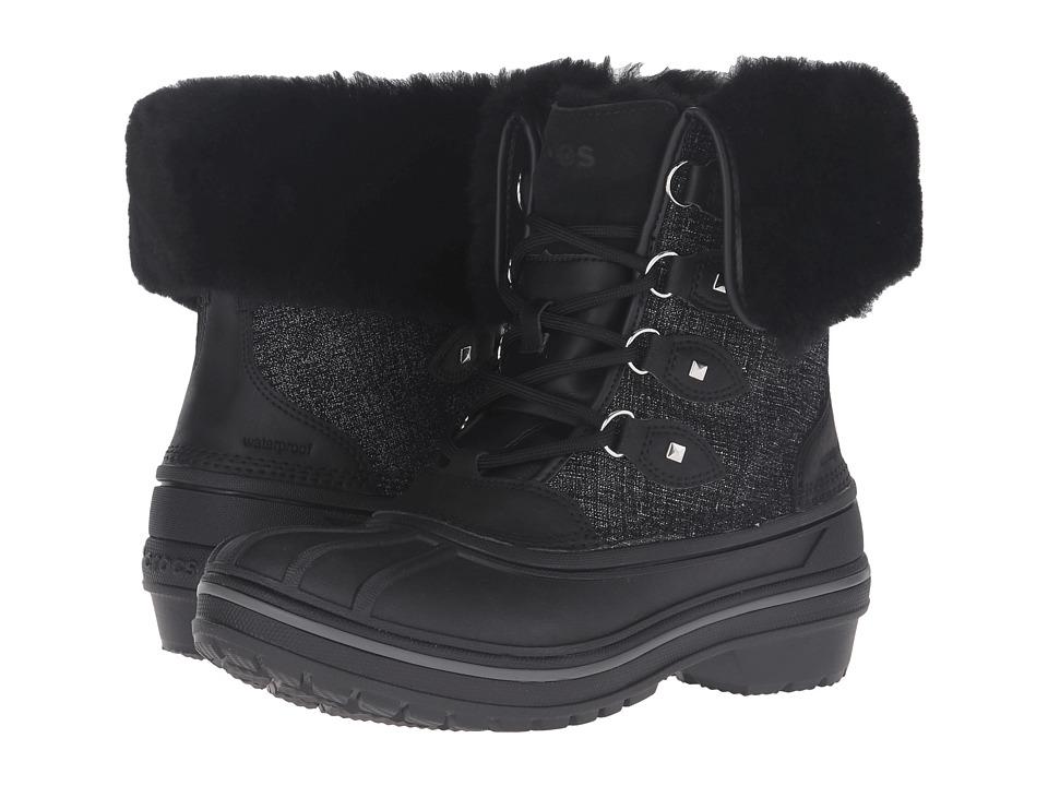 Crocs - AllCast II Luxe Boot (Black Shimmer) Women's Boots