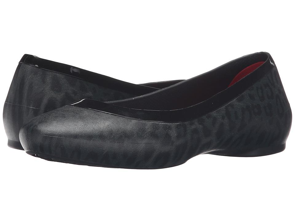 Crocs - Lina Shiny Flat (Black/Black) Women's Flat Shoes