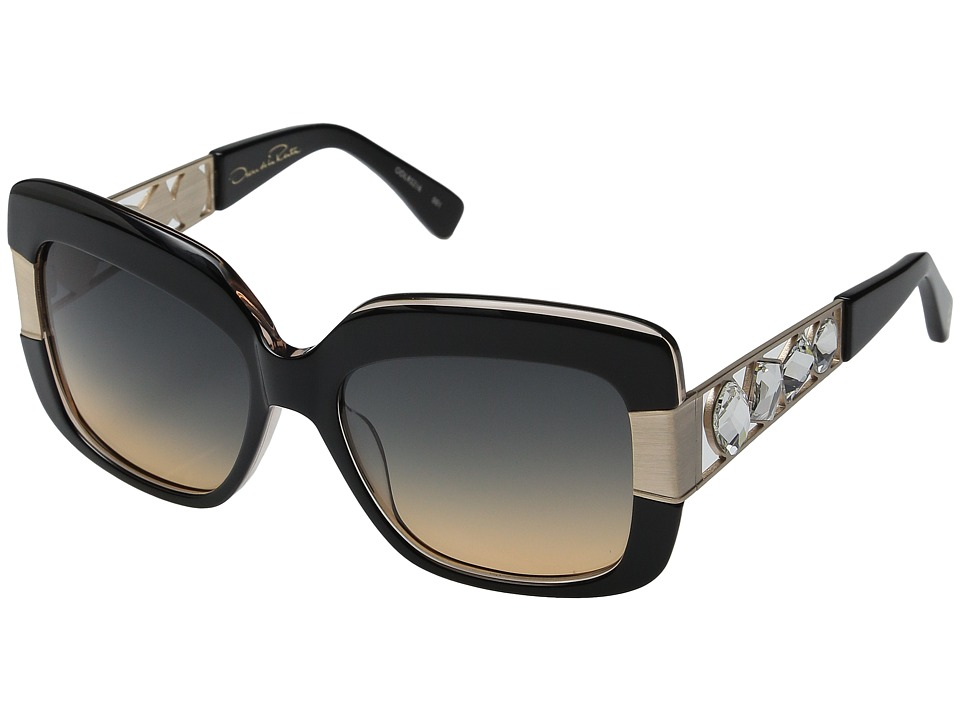 Oscar de la Renta - ODLRS-216 (Black/White Crystal/Smoke Amber Gradient) Fashion Sunglasses