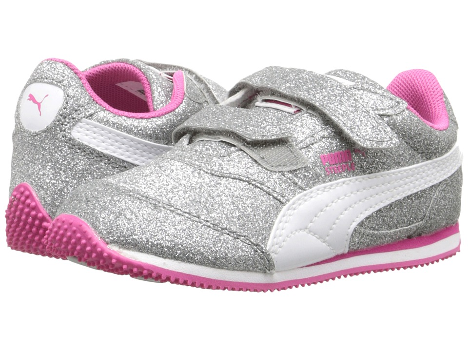 Puma Kids - Steeple Glitz Glam V Inf (Toddler) (Puma Silver/Puma White/Fuchsia Purple) Girls Shoes