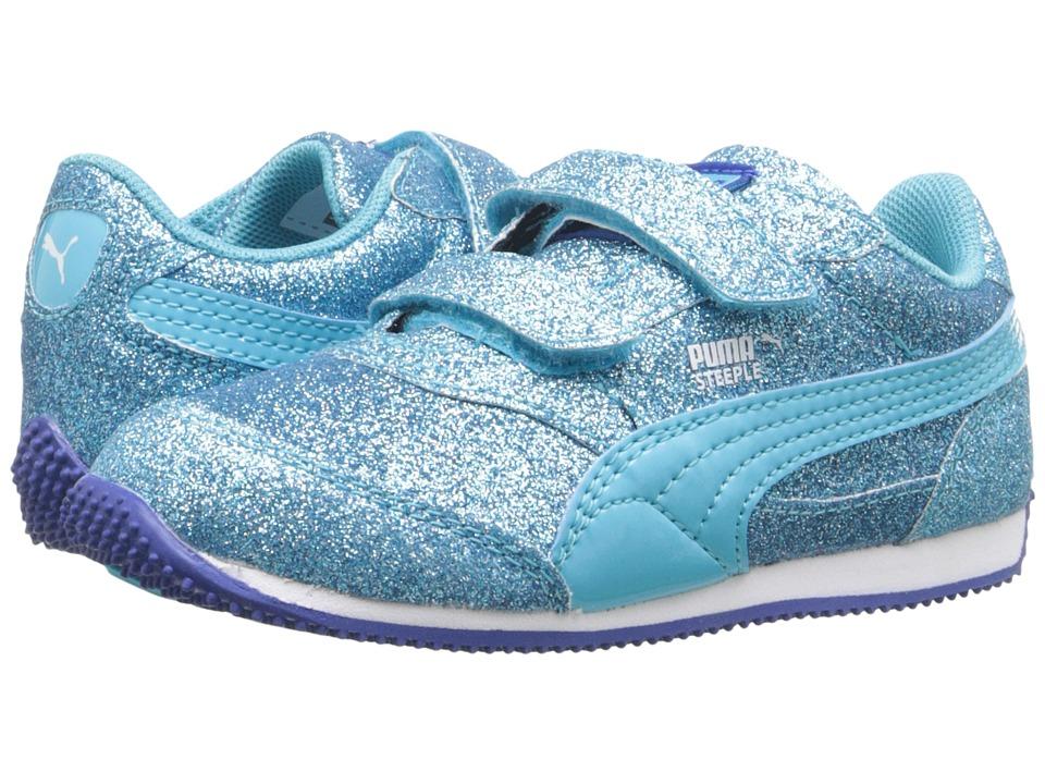 Puma Kids Steeple Glitz Glam V Inf (Toddler) (Blue Atoll) Girls Shoes
