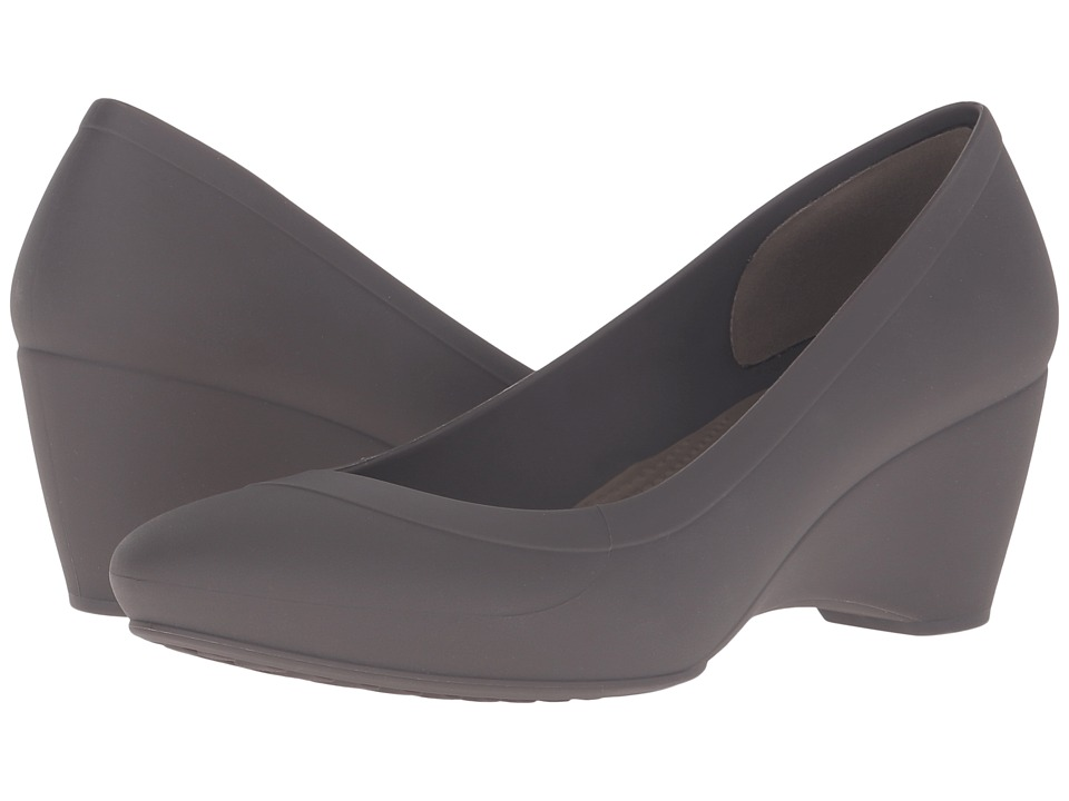 Crocs - Lina Wedge (Espresso) Women's Wedge Shoes