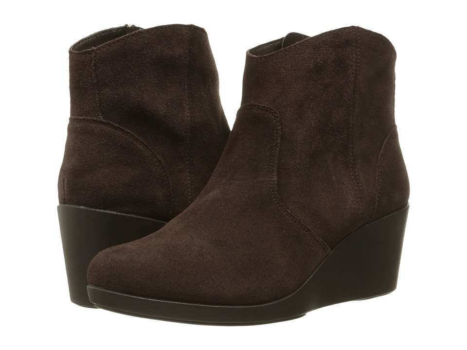 Crocs - Leigh Suede Wedge Bootie (Espresso) Women's Boots